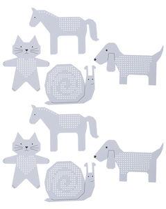 Borduurfiguren, kat, hond, slak en paard, 8 stuks