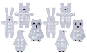 Borduurfiguren Uil, pinguin, haas en beer, 8 stuks