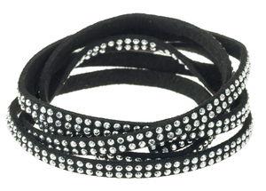 Veloursband mit Schmucksteinen, 1 m schwarz (5 mm)