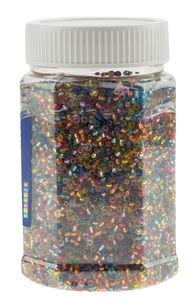 Glasperlen transp./silber, 500 g Buntmix