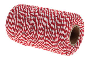 Koord, ø 2 mm x 100 m, wit/rood