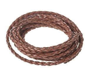Gevlochten band van kunstleer, 2m, (ca. 3 mm)bruin