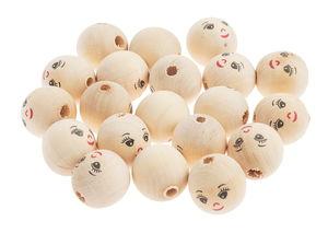 Bolas de madera con cara, 20 ud. (22 mm)