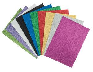 Moosgummi Glitter, 10 Platten farbig (21 x 30 cm)