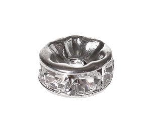 Metall-Strass-Rondell, silberfarben-kristall(5 mm)