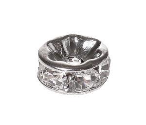 Metall-Strass-Rondell, silberfarben-kristall(8 mm)