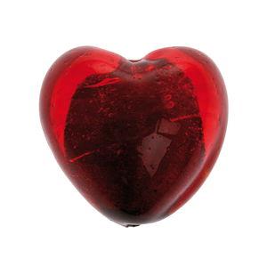 Perle feuille d'argent en verre -Coeur-, rouge