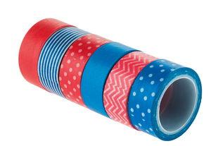 Washi tape, rood/blauw (15 mm x 5 m) 6 stuks
