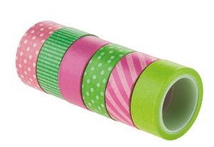 Washi tape, pink/groen (15 mm x 5 m) 6 stuks