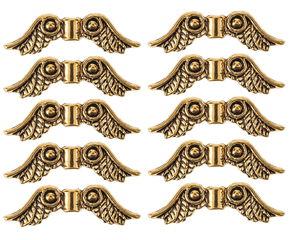 Perles en métal -Ailes-, Dim. 23..., doré