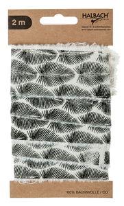 Katoenband - Blad, 2 m (45 mm) zwart bedrukt