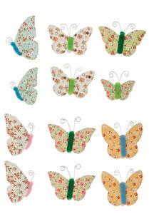 Papier-Sticker Schmetterlinge 12 Stück (2 - 4 cm)