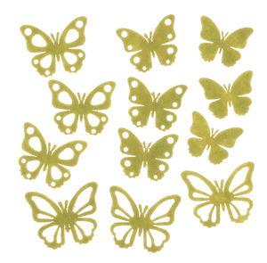 Streuteile Filz, 12 Stück Schmetterling grün