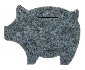 Filz-Moneten-Schwein, grau (12 x 9,5 cm)