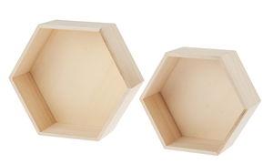 Houten zeshoek kubussen (24x10x21 + 29x10x25cm)