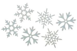 Vilten strooidelen - IJskristallen, wit, 6 stuks