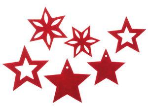 Estrellas de fieltro (50/60 mm) rojo, 6 ud.