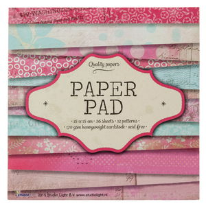 Designpapier-Block, 36 Bogen pink/blau (15x15cm)