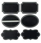 Tafelfolie-Etiketten m. Specksteinstift, 6 Stück