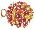 Holzperlen-Mix 60 g, inkl.2 Schnüre gelb/rot