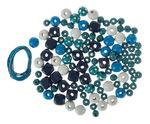 Holzperlen-Mix 60 g, inkl.2 Schnüre blau/türkis