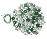 Holzperlen-Mix 60 g, inkl.2 Schnüre grün/weiß