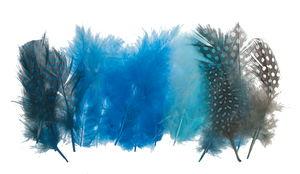Plumas de pintada Marabu, 18 ud. azul-mix