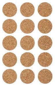 Kurk stickers - Cirkel (25 mm) 15 stuks