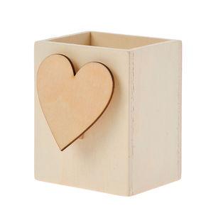 Stiftebox Holz mit Memohalter Herz (7x5,5x9 cm)