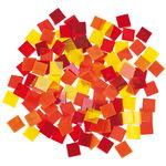 Tiffany mozaïek transparant/opaak, geel/roodtinten