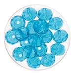 Glasschliff-Perlen (10 mm),  18 Stück aqua