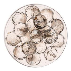 Glasschliff-Perlen (10 mm),  18 Stück black diam.