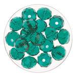 Glasschliff-Perlen (10 mm),  18 Stück emerald