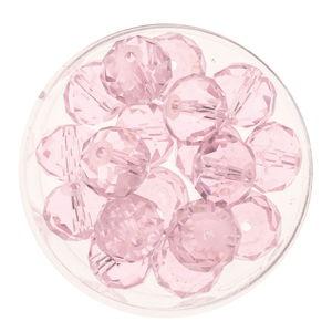Glasschliff-Perlen (10 mm),  18 Stück light rose