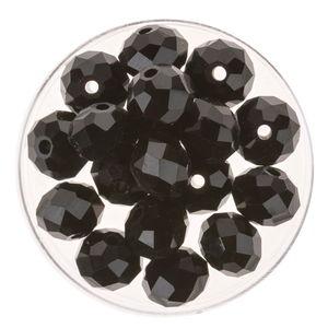 Glasschliff-Perlen (10 mm),  18 Stück schwarz