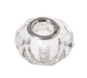 Geslepen glaskralen groot gat, 14 mm, kristal
