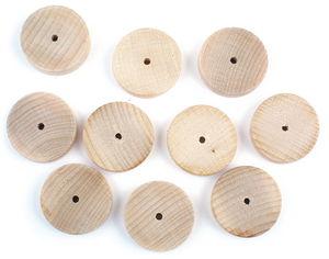 Buchenholzräder  mit Bohrung, 10 Stück (40 x 10mm)