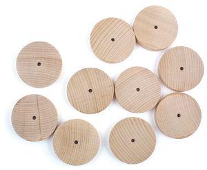 Buchenholzräder  mit Bohrung, 10 Stück (50 x 10mm)