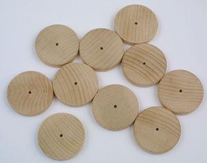 Buchenholzräder  mit Bohrung, 10 Stück (60 x 10mm)