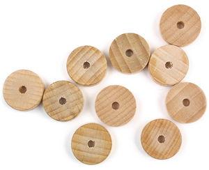 Buchenholzräder  mit Bohrung, 10 Stück (20 x 6 mm)
