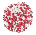 Holzperlen, 100 g rot/weiß ( II.Wahl )