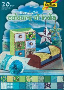 Natuurpapier blok - Kerala blauw/groen (A4) 20 vel