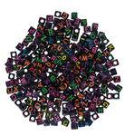 Alfabet kralen vierkant (7 mm) zwart/neon 300 st.