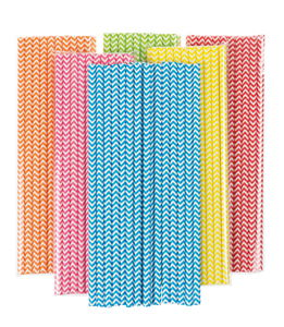 Pajitas de papel - Zigzag de colores, 120 ud.