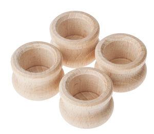 Houten kaarsenhouders (35 x 28 mm) 4 stuks