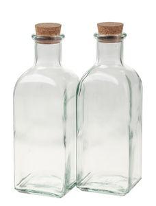 Glasflasche, 2 Stück mittel mit Korkstopfen(250ml)