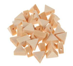 Holzperlen, 35 Stück Dreiecke (10 x 10 x 5 mm)
