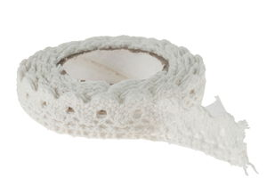 Ruban décoratif, 100 % coton, au..., weiß