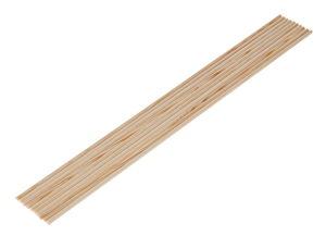 Baguettes rondes en bois tendre, 8 x 500 mm