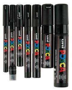 Posca Marker Spitzenset, 7 Stifte schwarz